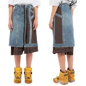 NWT Maison Margiela Two Tone Denim Skirt 42